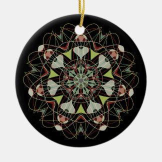 ChristmasStars008Black Ceramic Ornament