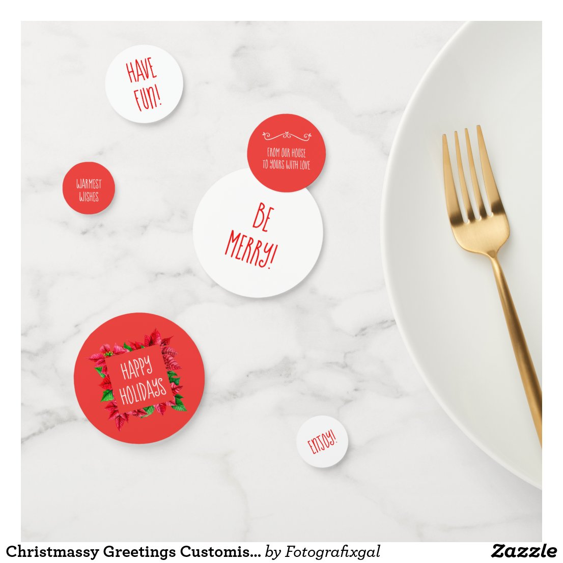 Christmassy Greetings Customisable Typography Confetti