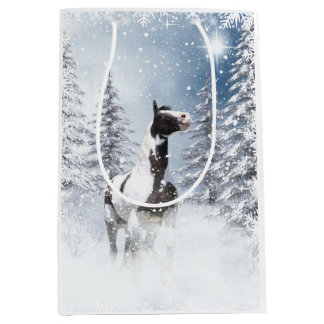 Christmassy paint horse medium gift bag
