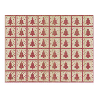 Christmassy Red Knitted Pattern Postcard