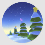 Christmast tree round stickers