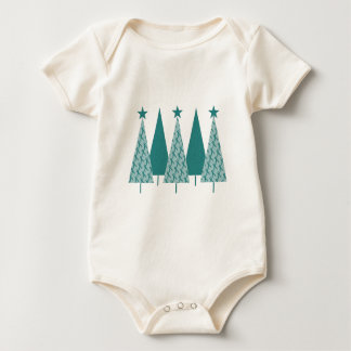 Christmast Trees Teal Ribbon - Ovarian Cancer Baby Bodysuit