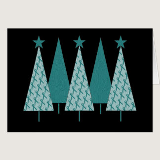 Christmast Trees Teal Ribbon - Ovarian Cancer Card