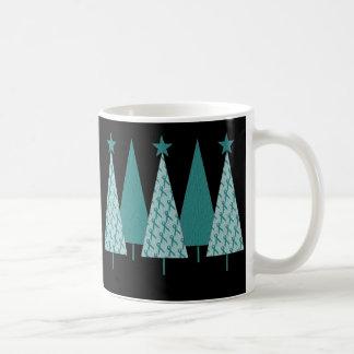 Christmast Trees Teal Ribbon - Ovarian Cancer Coffee Mug