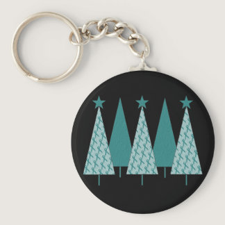 Christmast Trees Teal Ribbon - Ovarian Cancer Keychain