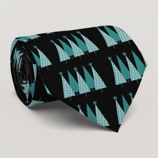 Christmast Trees Teal Ribbon - Ovarian Cancer Neck Tie
