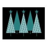 Christmast Trees Teal Ribbon - Ovarian Cancer Postcard