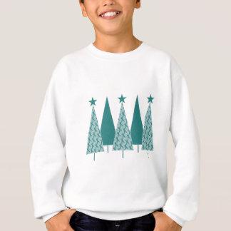 Christmast Trees Teal Ribbon - Ovarian Cancer Sweatshirt