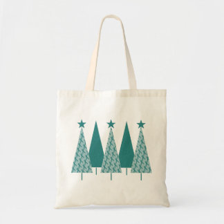 Christmast Trees Teal Ribbon - Ovarian Cancer Tote Bag