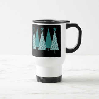 Christmast Trees Teal Ribbon - Ovarian Cancer Travel Mug
