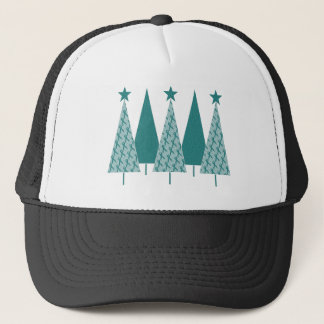 Christmast Trees Teal Ribbon - Ovarian Cancer Trucker Hat