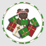 ChristmasTeddybear y pegatinas del regalo Pegatina Redonda