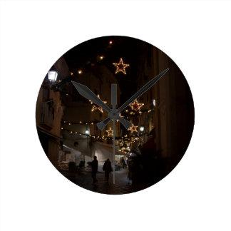 Christmastime in Sorrento Round Clock