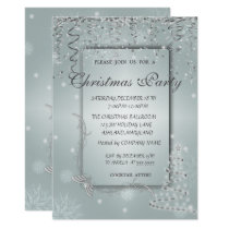 ChristmasTree,Snowflakes Corporate Christmas Party Invitation