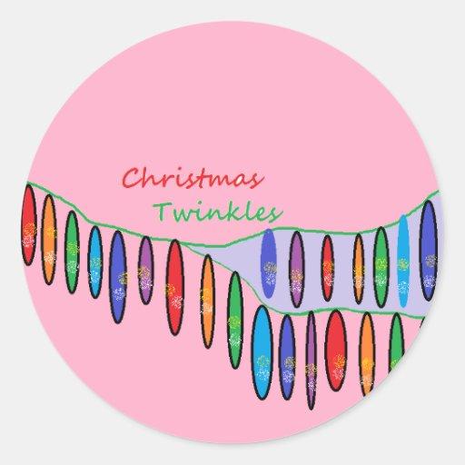 ChristmasTwinkles Pegatina Redonda