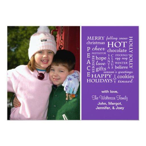 Christmasy redacta la tarjeta de Navidad (púrpura) Invitación 12,7 X 17,8 Cm