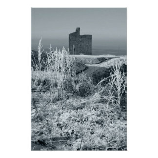 christmasy view of ballybunion castle ruin poster