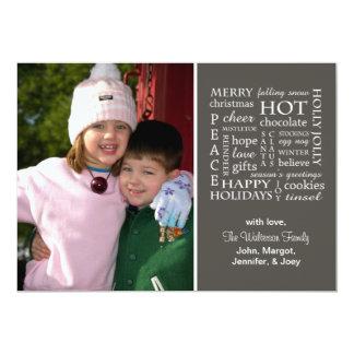Christmasy Words Christmas Card (Dark Gray)