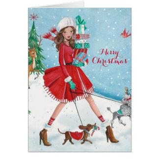 Christmis Shopping Girl - Christmas Greetings Card