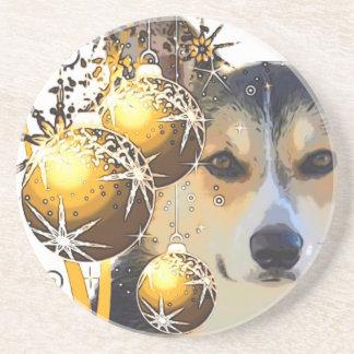 Christms Corgi with Bulbs Coaster