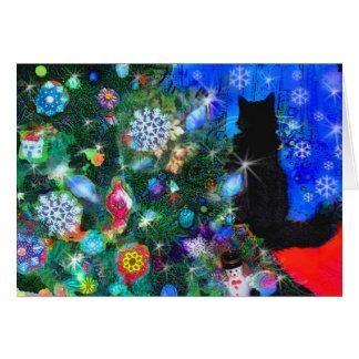 Christms Kitty waiting for Santa , card