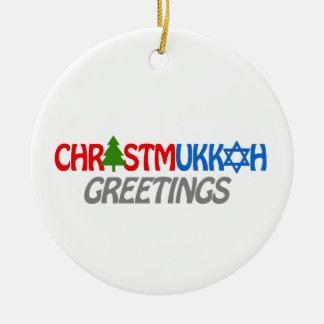 CHRISTMUKKAH GREETINGS -.png Ceramic Ornament