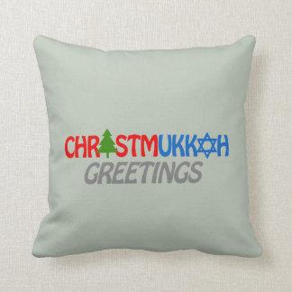 CHRISTMUKKAH GREETINGS -.png Pillow