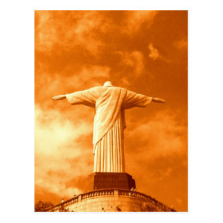 Christo en la puesta del sol tarjeta postal