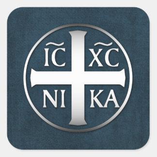 Christogram ICXC NIKA Jesús conquista Pegatina Cuadrada