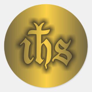 Christogram (IHS) Gold Classic Round Sticker