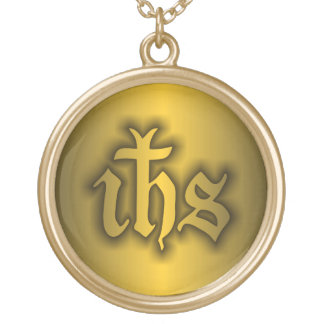 Christogram (IHS) Gold Gold Plated Necklace