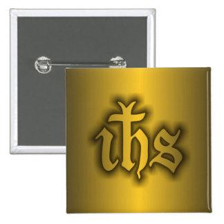 Christogram (IHS) Gold Pinback Button