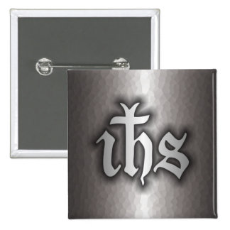 Christogram (IHS) Steel Button