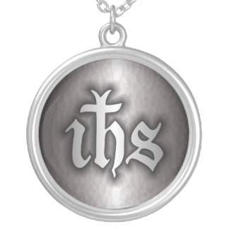 Christogram (IHS) Steel Silver Plated Necklace