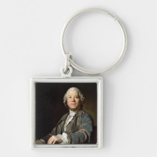Christoph Willibald Gluck  at the spinet, 1775 Silver-Colored Square Keychain