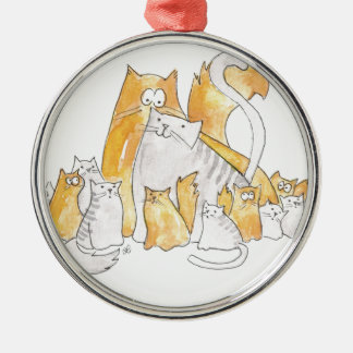Christopher Cat and his Marvelous family Metal Ornament