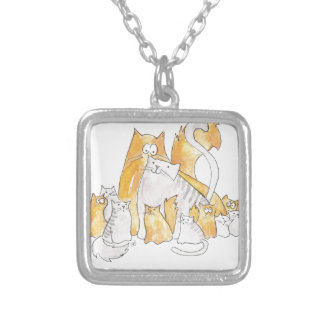 Christopher Cat and his Marvelous family Silver Plated Necklace
