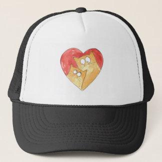 Christopher Cat and Hugh in heart Trucker Hat
