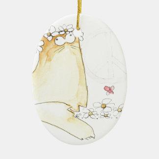 Christopher Cat World Peace Ceramic Ornament