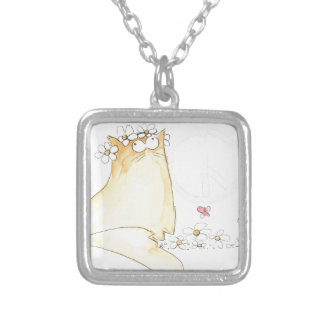 Christopher Cat World Peace Silver Plated Necklace