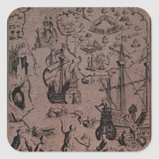 Christopher Colombus discovering the islands Square Sticker