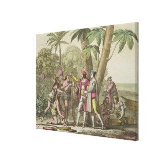 Christopher Columbus (1451-1506) with Native Ameri Canvas Print