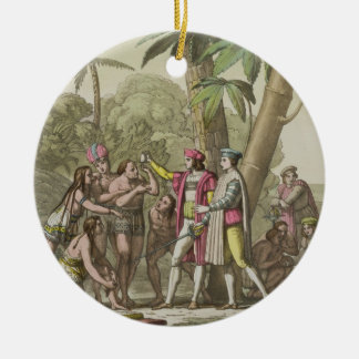 Christopher Columbus (1451-1506) with Native Ameri Ceramic Ornament