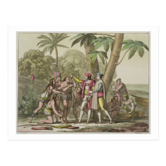 Christopher Columbus (1451-1506) with Native Ameri Postcard