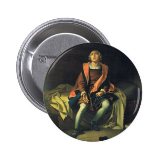 Christopher Columbus paint by Antonio de Herrera Pinback Button