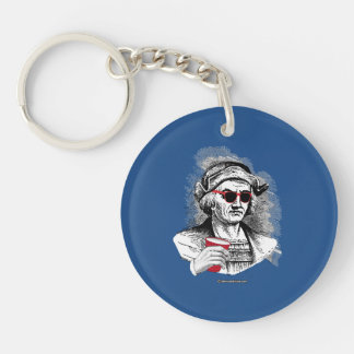 Christopher Columbus Party Animal Double-Sided Round Acrylic Keychain