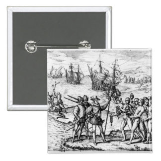 Christopher Columbus  receiving  gifts 2 Inch Square Button