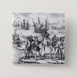 Christopher Columbus  receiving  gifts Button