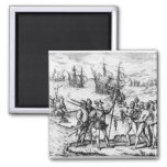 Christopher Columbus  receiving  gifts Magnet