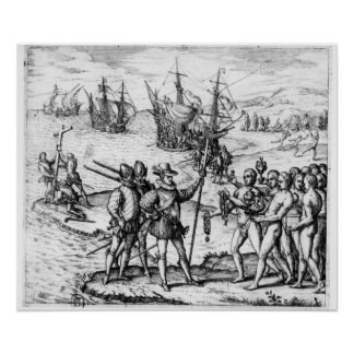 Christopher Columbus  receiving  gifts Poster